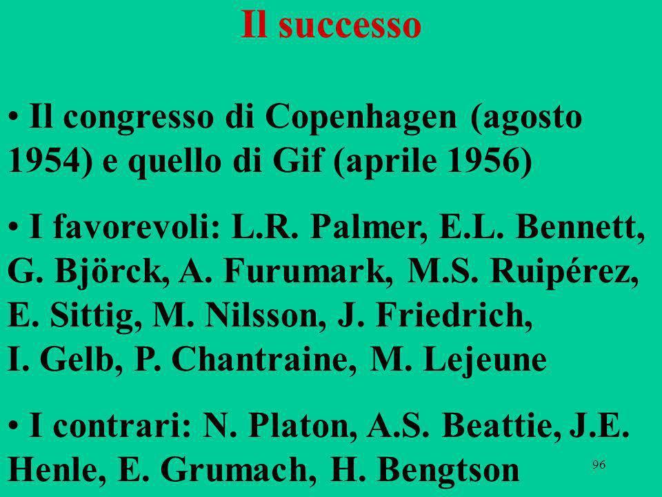 96 Il successo Il congresso di Copenhagen (agosto 1954) e quello di Gif (aprile 1956) I favorevoli: L.R.
