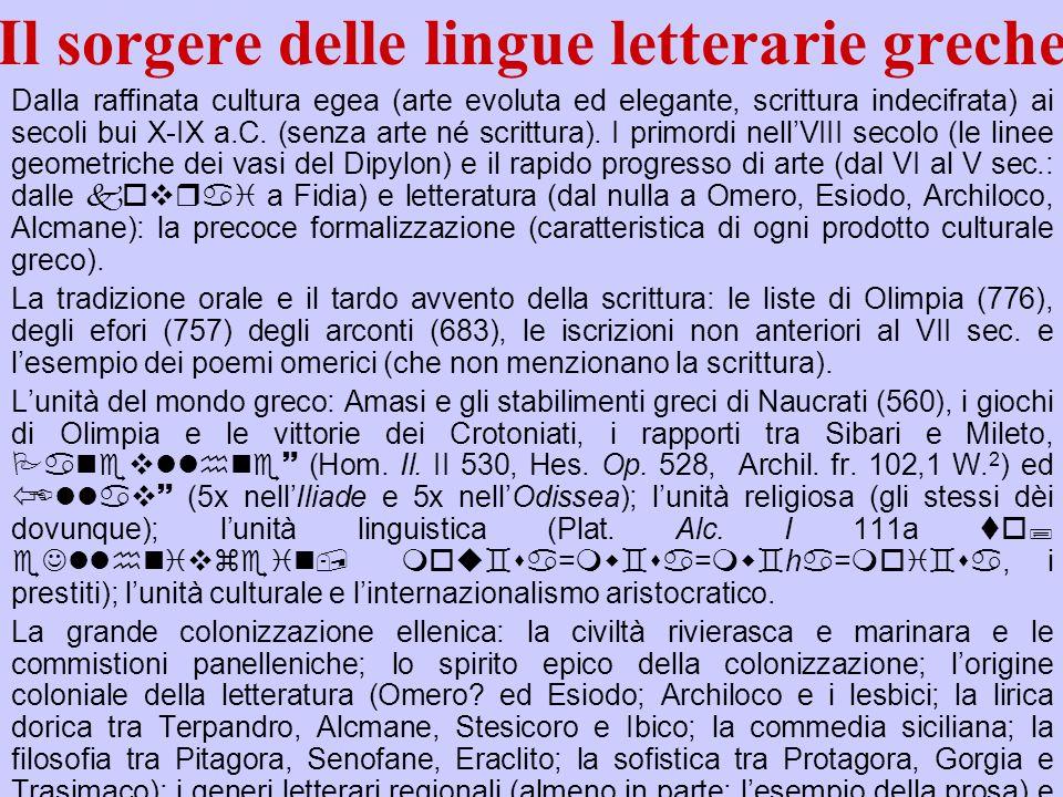 Il sorgere delle lingue letterarie greche Dalla raffinata cultura egea (arte evoluta ed elegante, scrittura indecifrata) ai secoli bui X-IX a.C. (senz