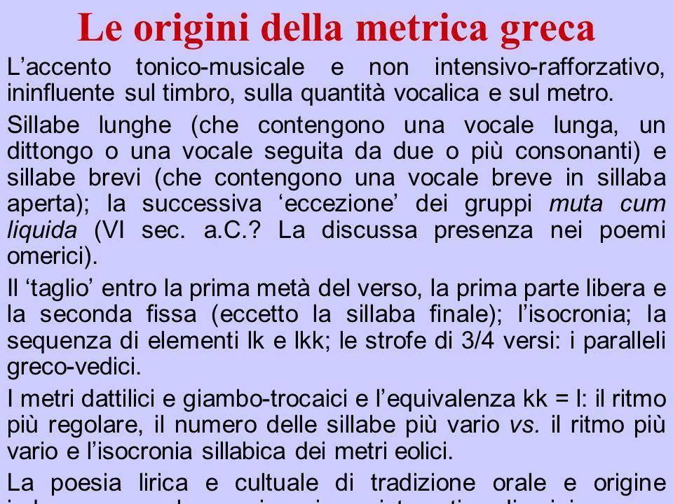 Le origini della metrica greca Laccento tonico-musicale e non intensivo-rafforzativo, ininfluente sul timbro, sulla quantità vocalica e sul metro. Sil