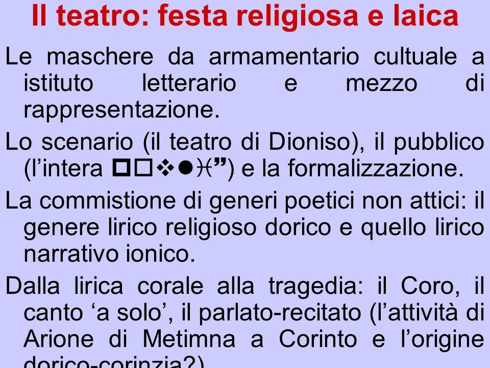 Il teatro: festa religiosa e laica Le maschere da armamentario cultuale a istituto letterario e mezzo di rappresentazione. Lo scenario (il teatro di D