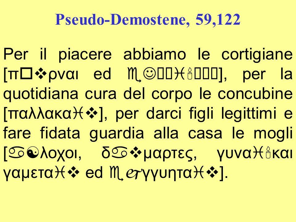 Pseudo-Demostene, 59,122 Per il piacere abbiamo le cortigiane [πovρναι ed eJταi ραι], per la quotidiana cura del corpo le concubine [παλλακαiv], per d