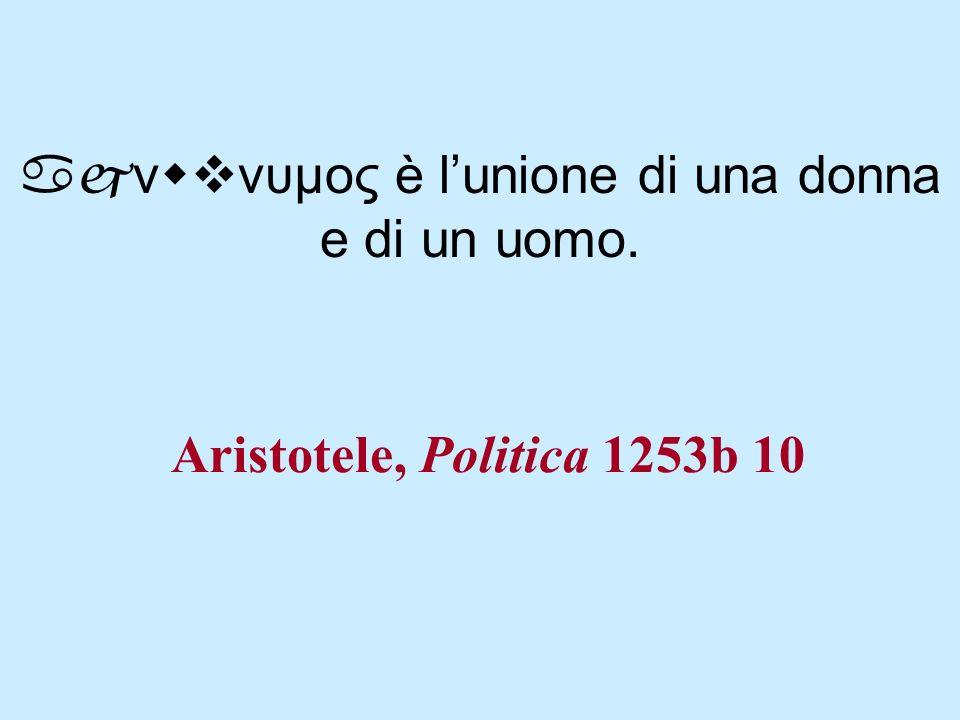 Aristotele, Politica 1253b 10 ajνwvνυμος è lunione di una donna e di un uomo.