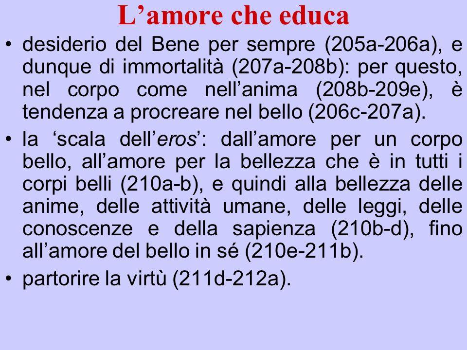 Lamore che educa desiderio del Bene per sempre (205a-206a), e dunque di immortalità (207a-208b): per questo, nel corpo come nellanima (208b-209e), è t