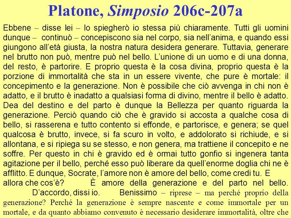 Platone, Simposio 206c-207a Ebbene – disse lei – lo spiegherò io stessa più chiaramente. Tutti gli uomini dunque – continuò – concepiscono sia nel cor