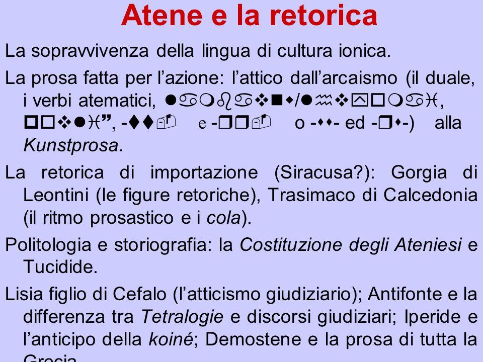 Atene e la retorica La sopravvivenza della lingua di cultura ionica. La prosa fatta per lazione: lattico dallarcaismo (il duale, i verbi atematici, la