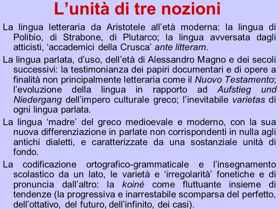Lunità di tre nozioni La lingua letteraria da Aristotele alletà moderna: la lingua di Polibio, di Strabone, di Plutarco; la lingua avversata dagli att