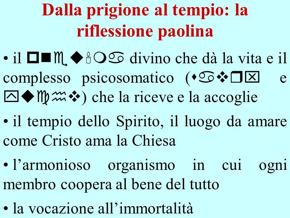 Dalla prigione al tempio: la riflessione paolina il pneu ma divino che dà la vita e il complesso psicosomatico ( savrx e yuchv ) che la riceve e la ac
