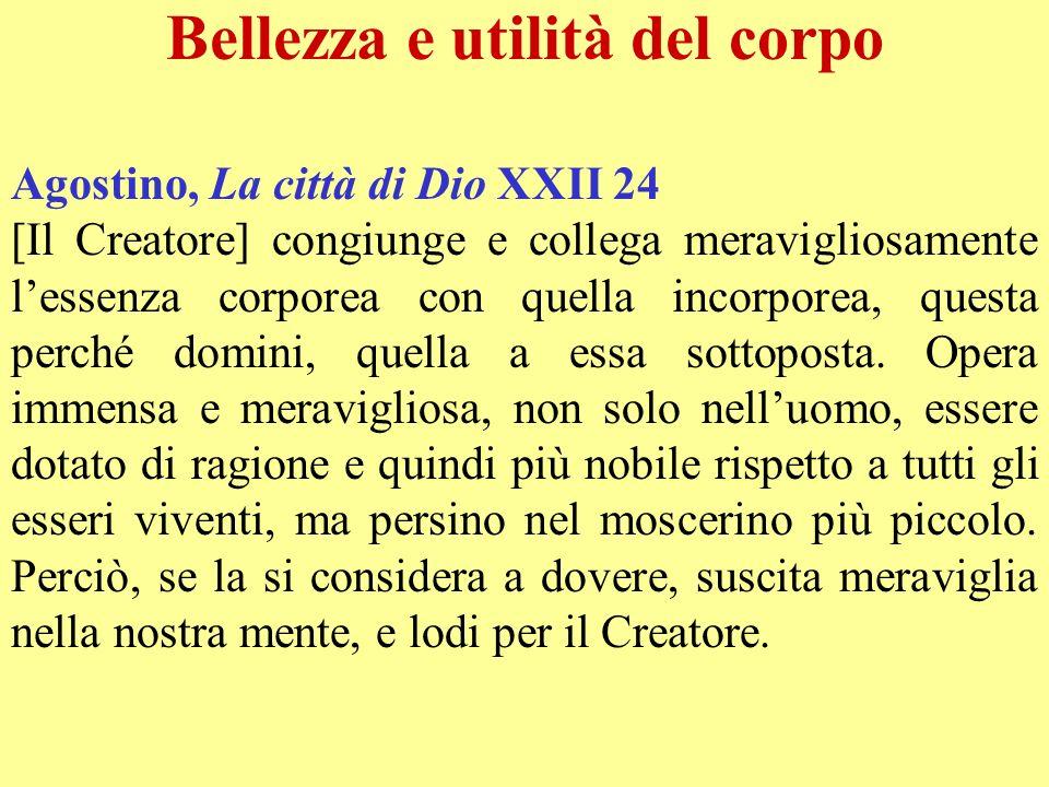 Bellezza e utilità del corpo Agostino, La città di Dio XXII 24 [Il Creatore] congiunge e collega meravigliosamente lessenza corporea con quella incorp