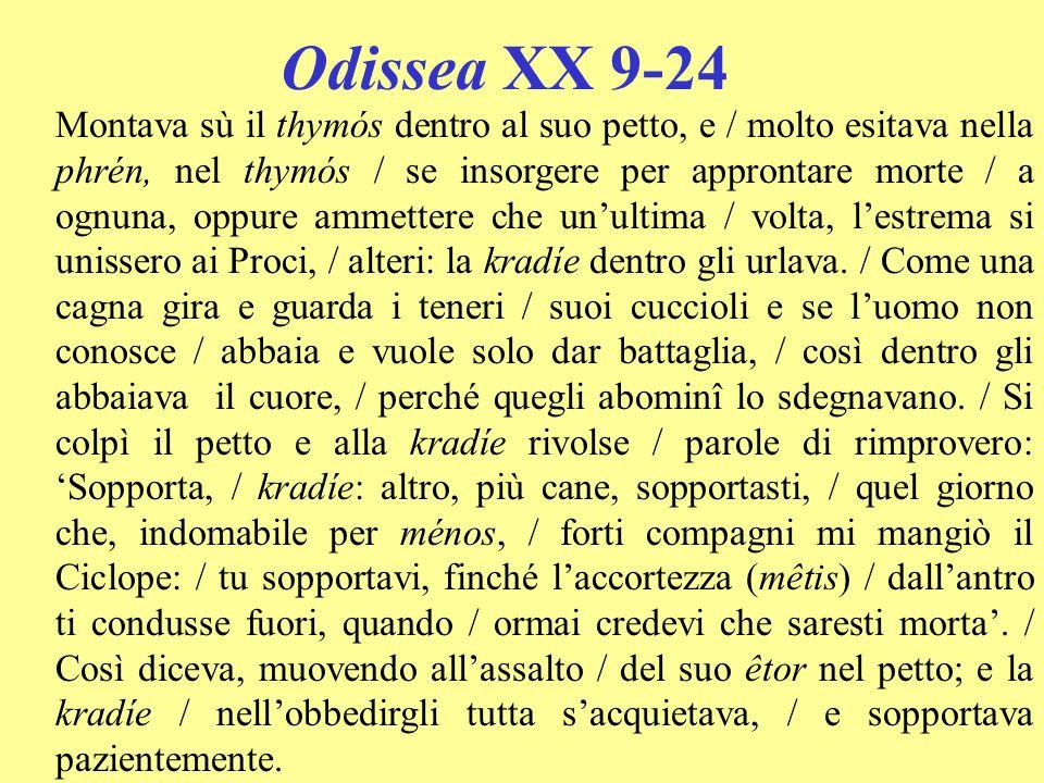 Odissea XX 9-24 Montava sù il thymós dentro al suo petto, e / molto esitava nella phrén, nel thymós / se insorgere per approntare morte / a ognuna, op