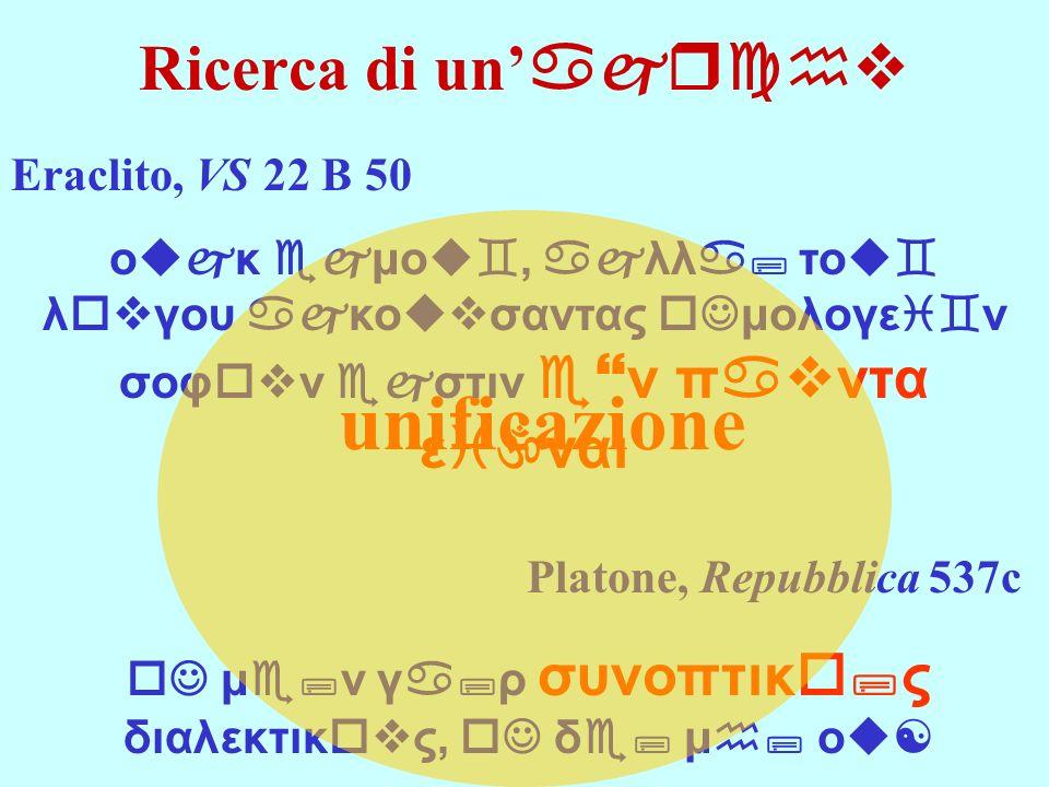 Ricerca di un ajrchv unificazione Platone, Repubblica 537c oJ μe;ν γa;ρ συνοπτικo;ς διαλεκτικovς, oJ δe; μh; οu[ Eraclito, VS 22 B 50 οujκ ejμοu`, ajλ