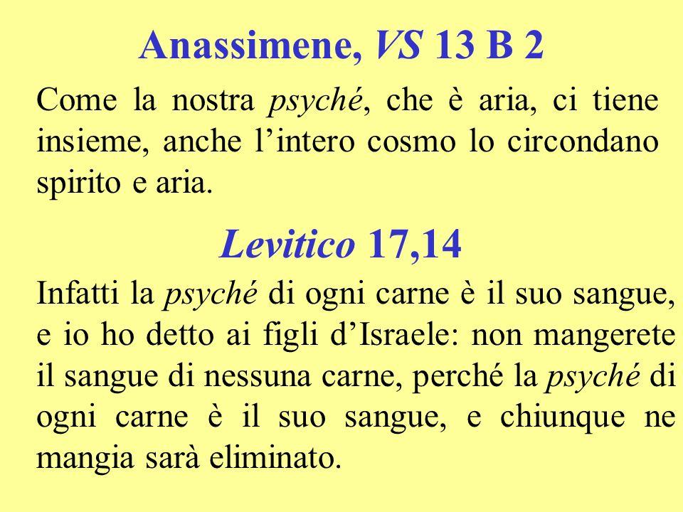 Anassimene, VS 13 B 2 Come la nostra psyché, che è aria, ci tiene insieme, anche lintero cosmo lo circondano spirito e aria. Infatti la psyché di ogni