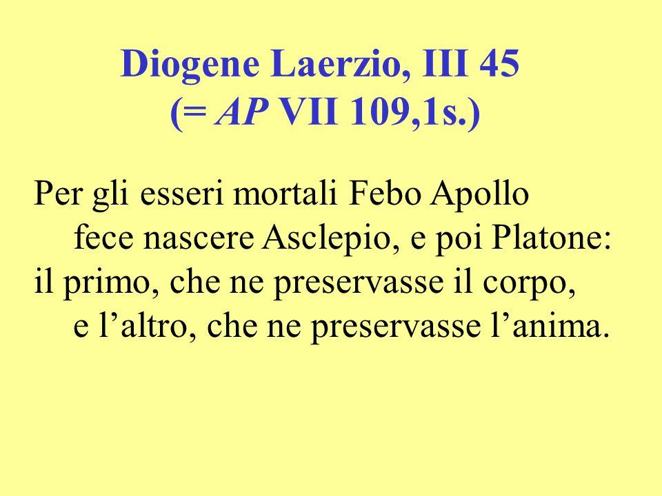 Diogene Laerzio, III 45 (= AP VII 109,1s.) Per gli esseri mortali Febo Apollo fece nascere Asclepio, e poi Platone: il primo, che ne preservasse il co