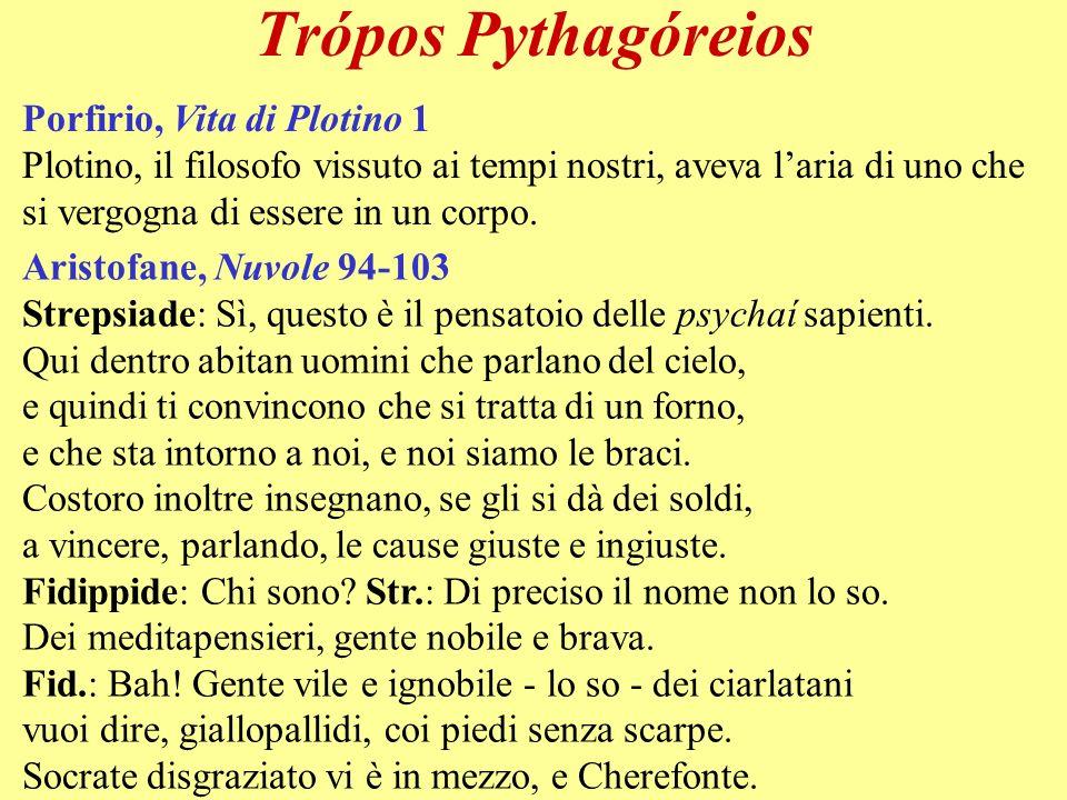 Trópos Pythagóreios Porfirio, Vita di Plotino 1 Plotino, il filosofo vissuto ai tempi nostri, aveva laria di uno che si vergogna di essere in un corpo