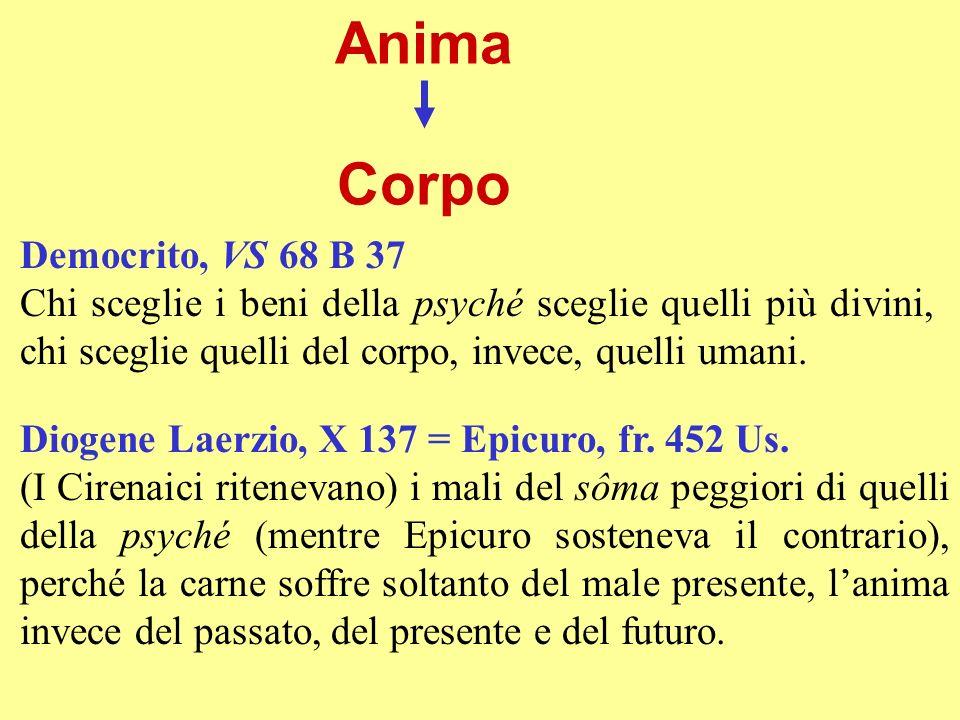 Anima Corpo Democrito, VS 68 B 37 Chi sceglie i beni della psyché sceglie quelli più divini, chi sceglie quelli del corpo, invece, quelli umani. Dioge
