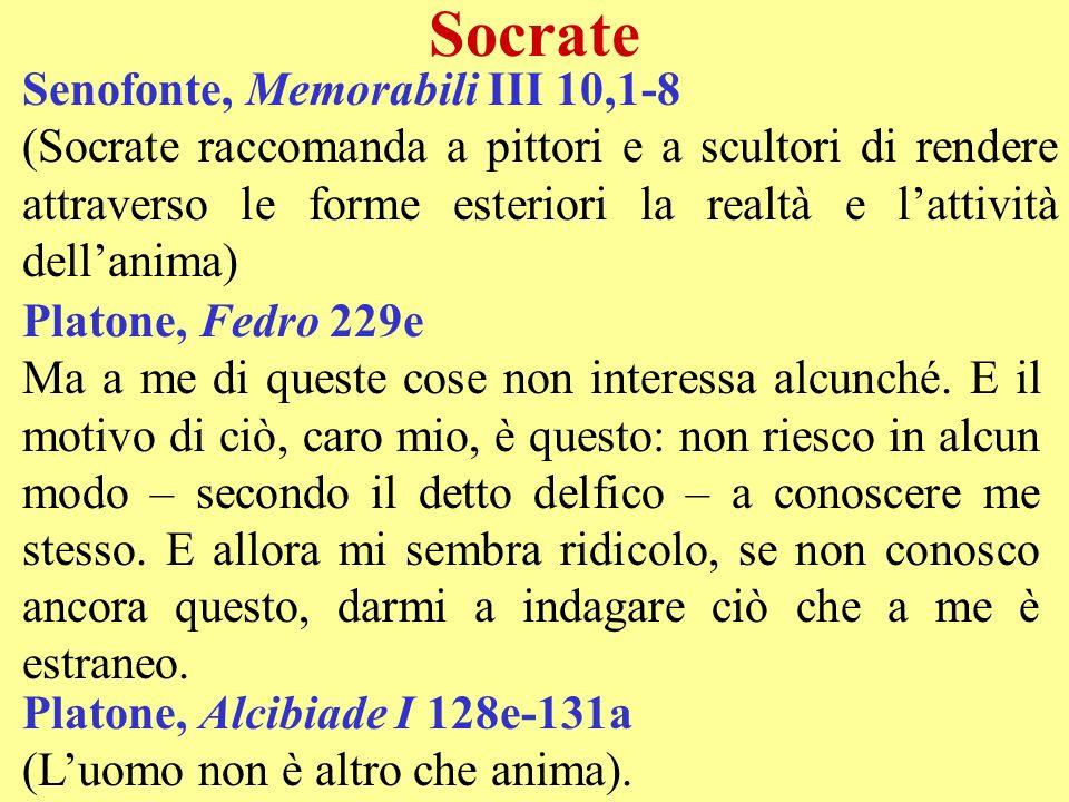 Socrate Senofonte, Memorabili III 10,1-8 (Socrate raccomanda a pittori e a scultori di rendere attraverso le forme esteriori la realtà e lattività del