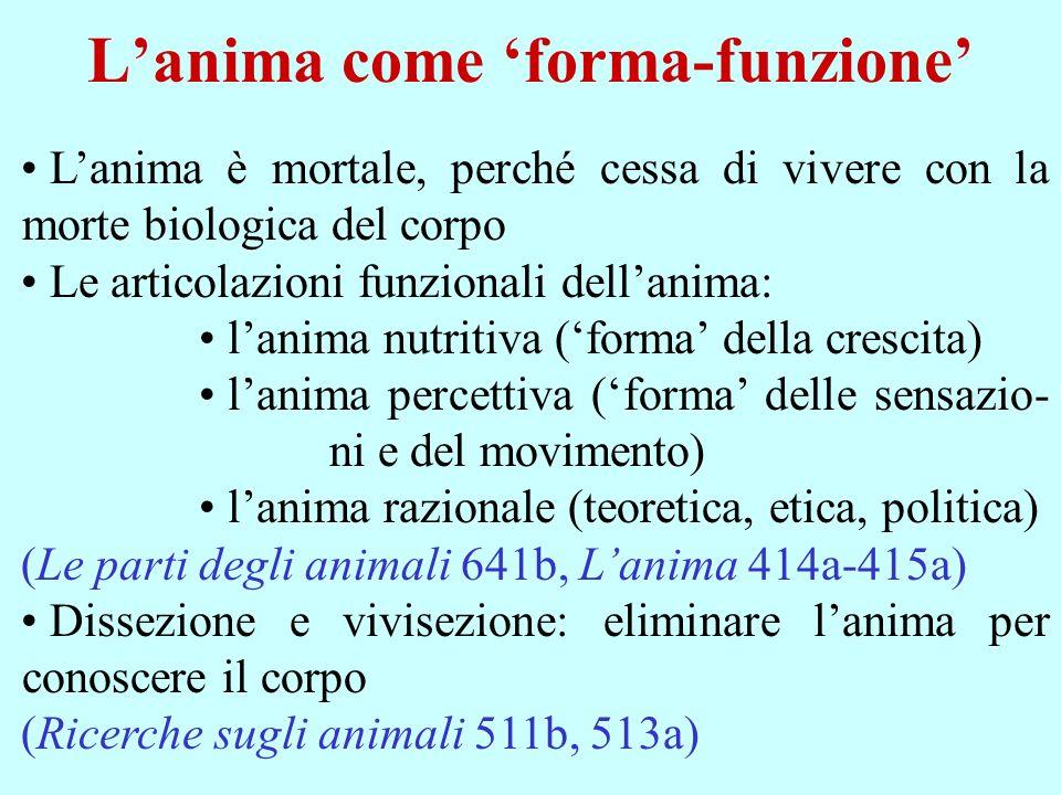 Lanima come forma-funzione Lanima è mortale, perché cessa di vivere con la morte biologica del corpo Le articolazioni funzionali dellanima: lanima nut