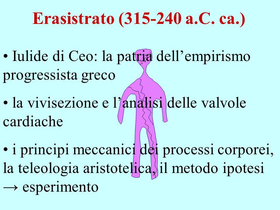 Erasistrato (315-240 a.C. ca.) Iulide di Ceo: la patria dellempirismo progressista greco la vivisezione e lanalisi delle valvole cardiache i principi