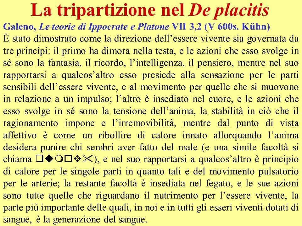 La tripartizione nel De placitis Galeno, Le teorie di Ippocrate e Platone VII 3,2 (V 600s. Kühn) È stato dimostrato come la direzione dellessere viven