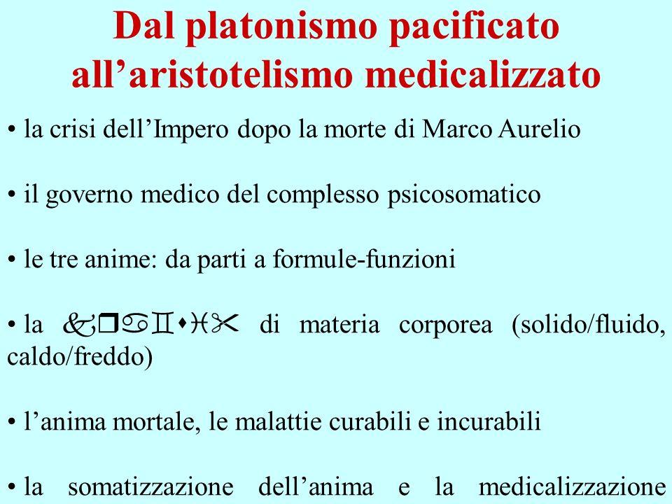 Dal platonismo pacificato allaristotelismo medicalizzato la crisi dellImpero dopo la morte di Marco Aurelio il governo medico del complesso psicosomat