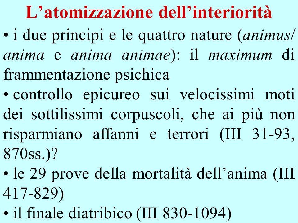 Latomizzazione dellinteriorità i due principi e le quattro nature (animus/ anima e anima animae): il maximum di frammentazione psichica controllo epic