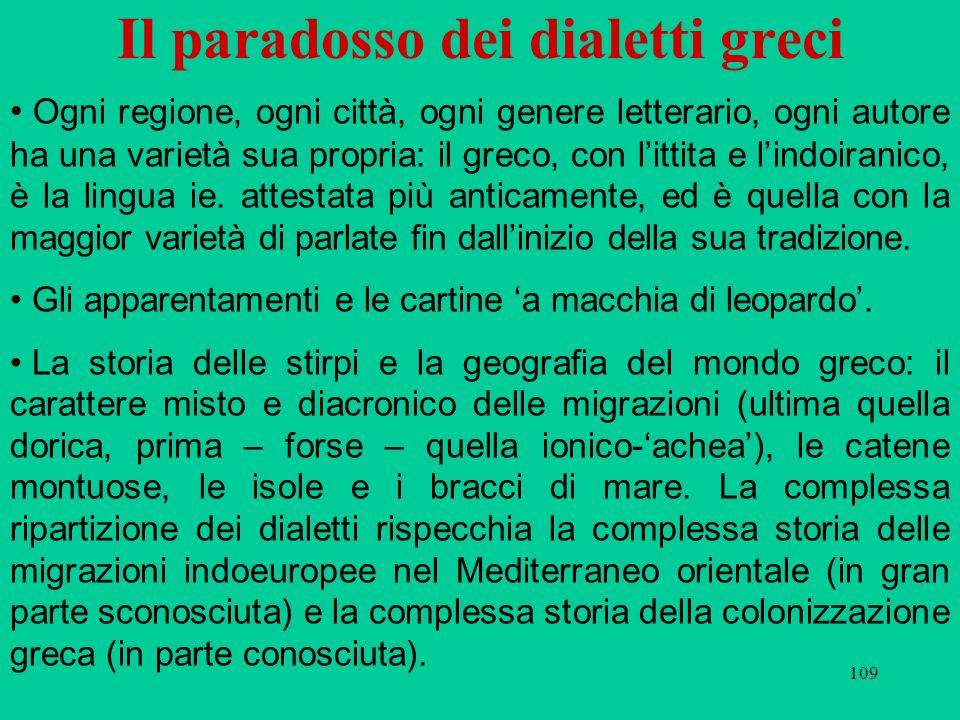 109 Il paradosso dei dialetti greci Ogni regione, ogni città, ogni genere letterario, ogni autore ha una varietà sua propria: il greco, con littita e