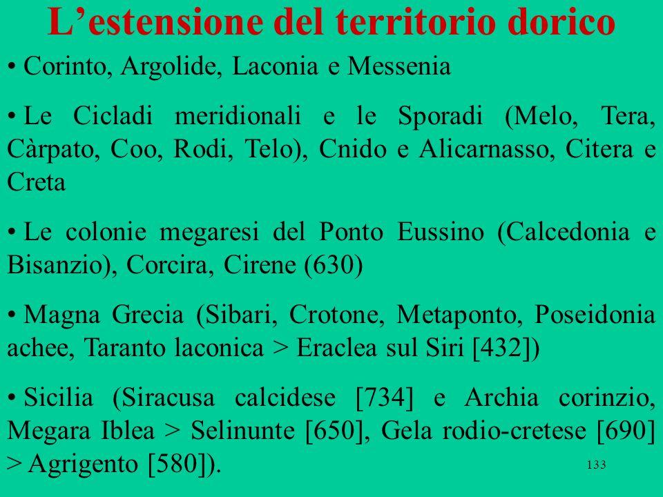 133 Lestensione del territorio dorico Corinto, Argolide, Laconia e Messenia Le Cicladi meridionali e le Sporadi (Melo, Tera, Càrpato, Coo, Rodi, Telo)
