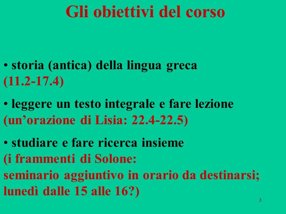 3 Gli obiettivi del corso storia (antica) della lingua greca (11.2-17.4) leggere un testo integrale e fare lezione (unorazione di Lisia: 22.4-22.5) st