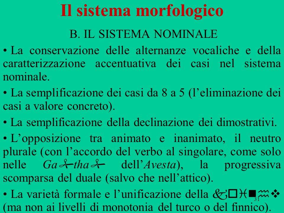 31 Il sistema morfologico B. IL SISTEMA NOMINALE La conservazione delle alternanze vocaliche e della caratterizzazione accentuativa dei casi nel siste