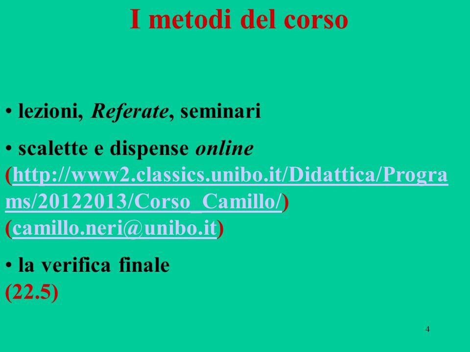 4 I metodi del corso lezioni, Referate, seminari scalette e dispense online (http://www2.classics.unibo.it/Didattica/Progra ms/20122013/Corso_Camillo/