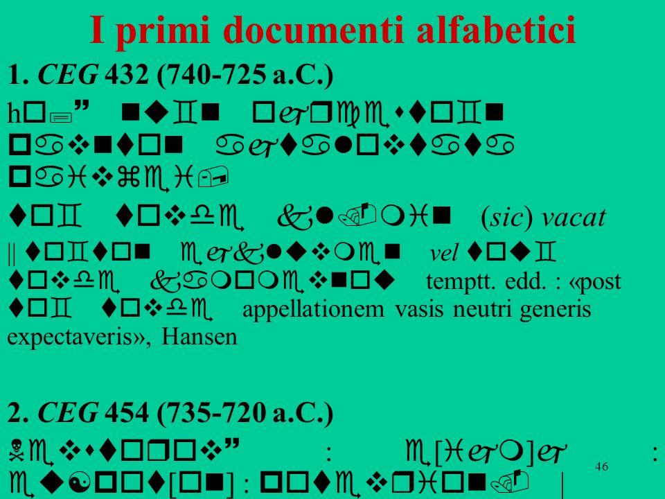 46 I primi documenti alfabetici 1. CEG 432 (740-725 a.C.) h o;~ nu`n ojrcesto`n pavnton ajtalovtata paivzei, to` tovde kl.min (sic) vacat || to`ton ej
