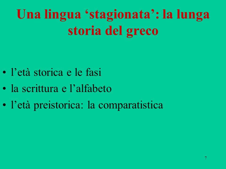 98 Un greco arcaico 1) mantenimento di a : da-mo, a-ta-na; 2) forme non contratte: e-ke-e, do-e-ra; 3) sviluppo di una semivocale di passaggio: i-jo ( uiJov~ ), i-je-re-ja; ui > i: i-jo; 4) esiti delle sonanti: a-mo, pe-mo, qe-to-ro-po-pi, to-pe-za; 5) vocalismo scuro: pa-ro, a-pu; 6) j > h o z (o = o{, ze-u-ke-si), sorda + j > s (pa-sa-ro, pa-sa), sonora + j > z (pe- za), sj > j (gen.