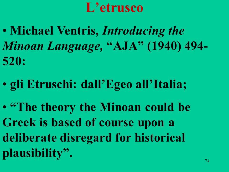 74 Letrusco Michael Ventris, Introducing the Minoan Language, AJA (1940) 494- 520: gli Etruschi: dallEgeo allItalia; The theory the Minoan could be Gr