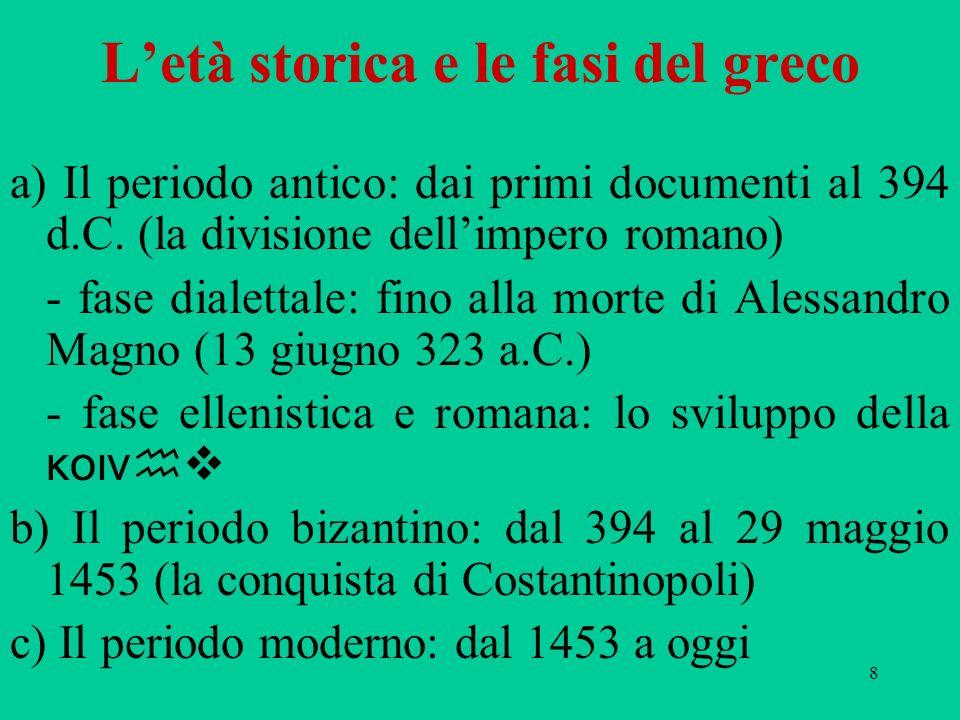 109 Il paradosso dei dialetti greci Ogni regione, ogni città, ogni genere letterario, ogni autore ha una varietà sua propria: il greco, con littita e lindoiranico, è la lingua ie.