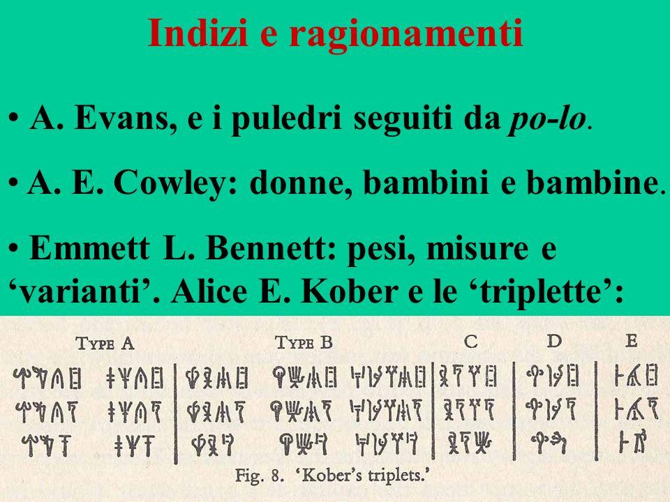 80 Indizi e ragionamenti A. Evans, e i puledri seguiti da po-lo. A. E. Cowley: donne, bambini e bambine. Emmett L. Bennett: pesi, misure e varianti. A