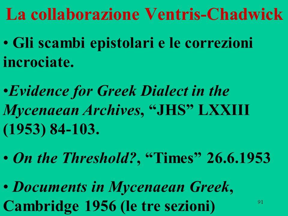 91 La collaborazione Ventris-Chadwick Gli scambi epistolari e le correzioni incrociate. Evidence for Greek Dialect in the Mycenaean Archives, JHS LXXI
