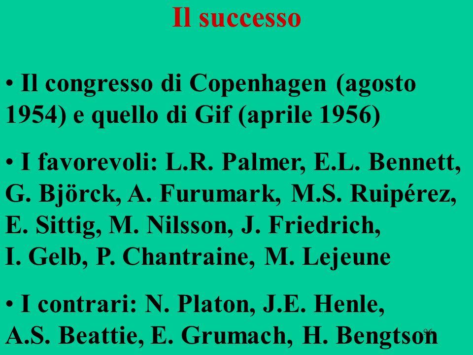 96 Il successo Il congresso di Copenhagen (agosto 1954) e quello di Gif (aprile 1956) I favorevoli: L.R. Palmer, E.L. Bennett, G. Björck, A. Furumark,