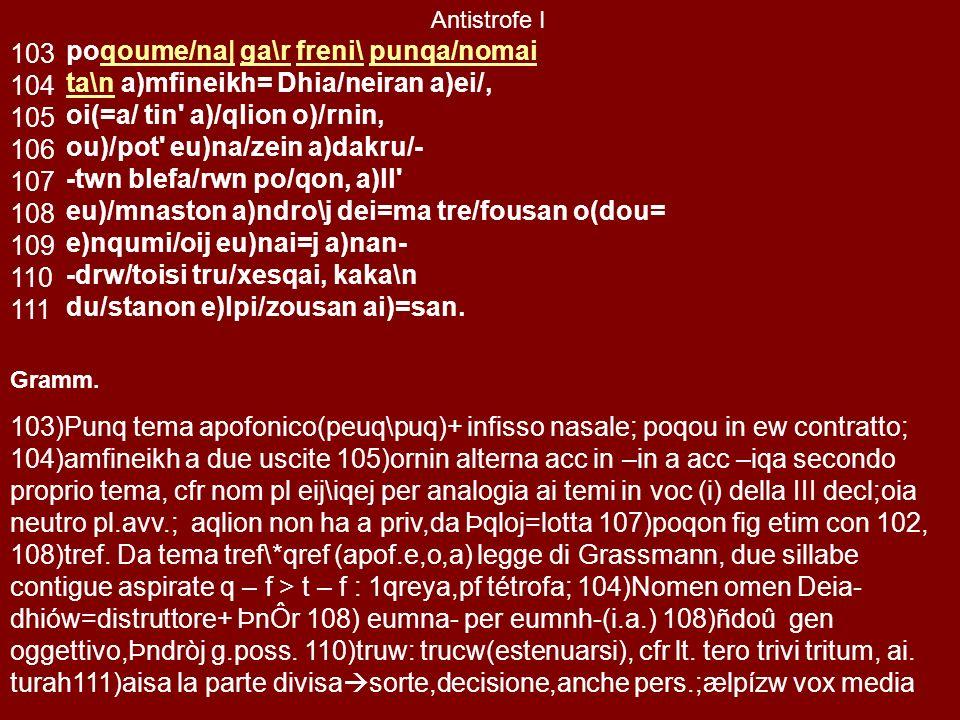o(\n ai)o/la nu\c e)narizome/na 95ti/ktei kateuna/zei te, flogizo/menon (/Alion (/Alion ai)tw= tou=to karu=cai, to\n )Alkmh/- -naj po/qi moi po/qi moi nai/ei pot , w)= lampra=| steropa=| flege/qwn, 0h)\ ponti/aj au)lw=naj h)\ dissai=sin a)pei/roij kliqei/j, ei)/p , w)= kratisteu/wn kat o)/mma.