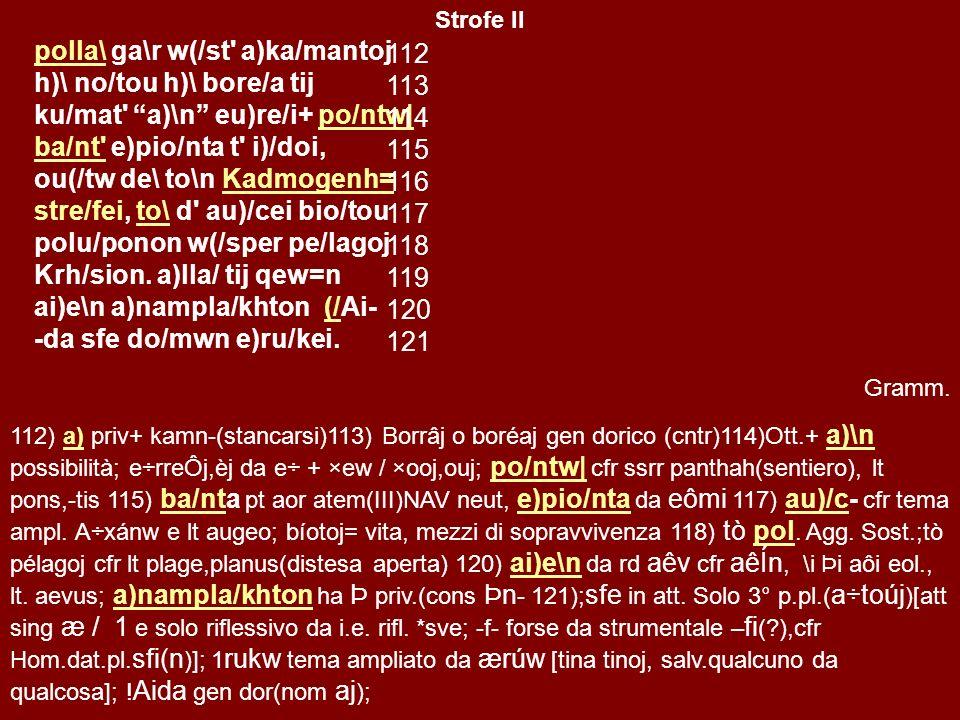 II Strofe, Antistrofe (vv 112-121/ 122-131) ˉ ˘ ˘ ˉ ˘ ˘ ˉ ˉ ˉ ˘ ˘ ˉ ˘ ˘ ˉ (H) ˉ ˉ ˘ ˉ ˉ ˘ ˘ ˉ ˘ ˉ ˘ ˉ ˉ ˘ ˘ ˉ ˘ ˘ ˘ ˘ ˉ ˉ ˘ ˘ ˉ ˉ ˘ ˘ ˉ ˘ ˉ ˘ ˉ ˉ ˘ ˘