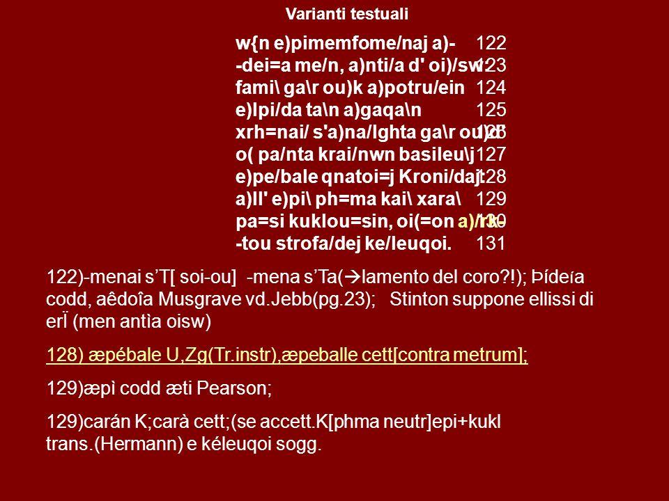 w(=n e)pimemfome/naj a)- -dei=a me/n, a)nti/a d oi)/sw: fami\ ga\r ou)k a)potru/ein e)lpi/da ta\n a)gaqa\n xrh=nai/ s a)na/lghta ga\r ou)d o( pa/nta krai/nwn basileu\j e)pe/bale qnatoi=j Kroni/daj: a)ll e)pi\ ph=ma kai\ xara\ pa=si kuklou=sin, oi(=on a)/rk- -tou strofa/dej ke/leuqoi.
