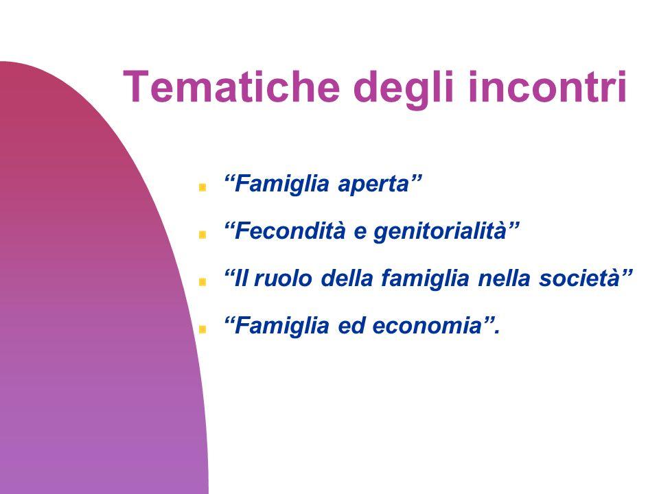 Tematiche degli incontri Famiglia aperta Fecondità e genitorialità Il ruolo della famiglia nella società Famiglia ed economia.