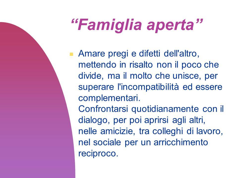Il ruolo della famiglia nella società La famiglia deve guardare oltre la propria casa, al quartiere, alla comunità, con l assunzione di precisi propositi e impegni personali, familiari e di gruppo.