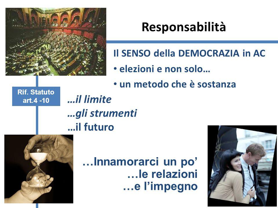 Responsabilità Il SENSO della DEMOCRAZIA in AC elezioni e non solo… un metodo che è sostanza …il limite …gli strumenti …il futuro …Innamorarci un po …le relazioni …e limpegno Rif.