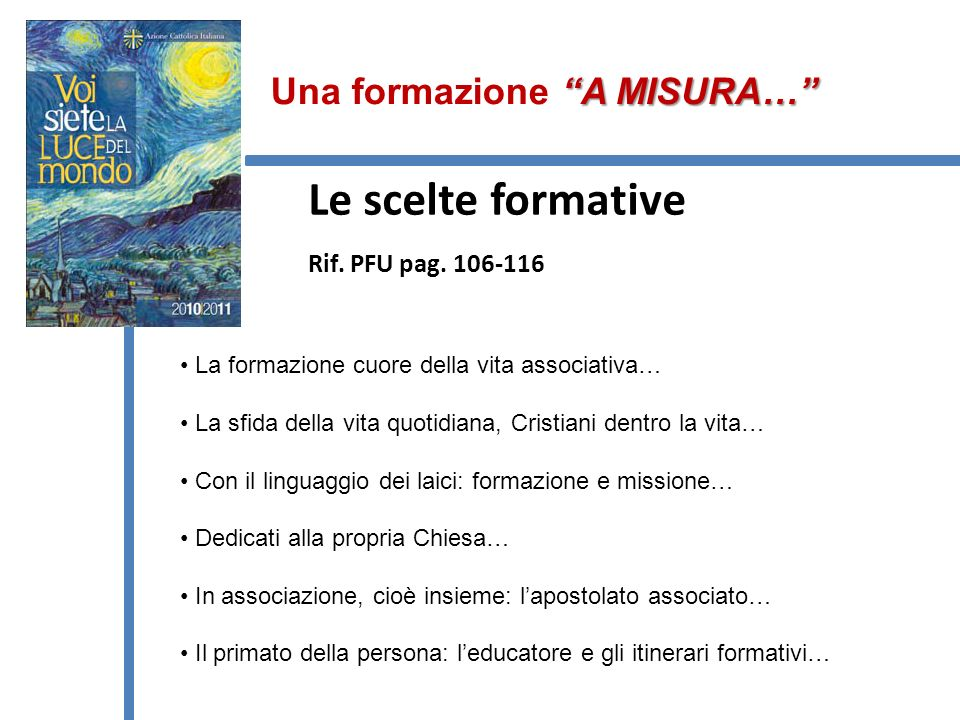 Le scelte formative Rif.PFU pag.