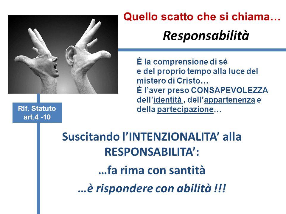 Responsabilità Suscitando lINTENZIONALITA alla RESPONSABILITA: …fa rima con santità …è rispondere con abilità !!.