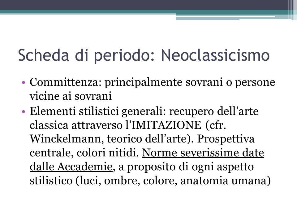 Scheda di periodo: Neoclassicismo Committenza: principalmente sovrani o persone vicine ai sovrani Elementi stilistici generali: recupero dellarte clas