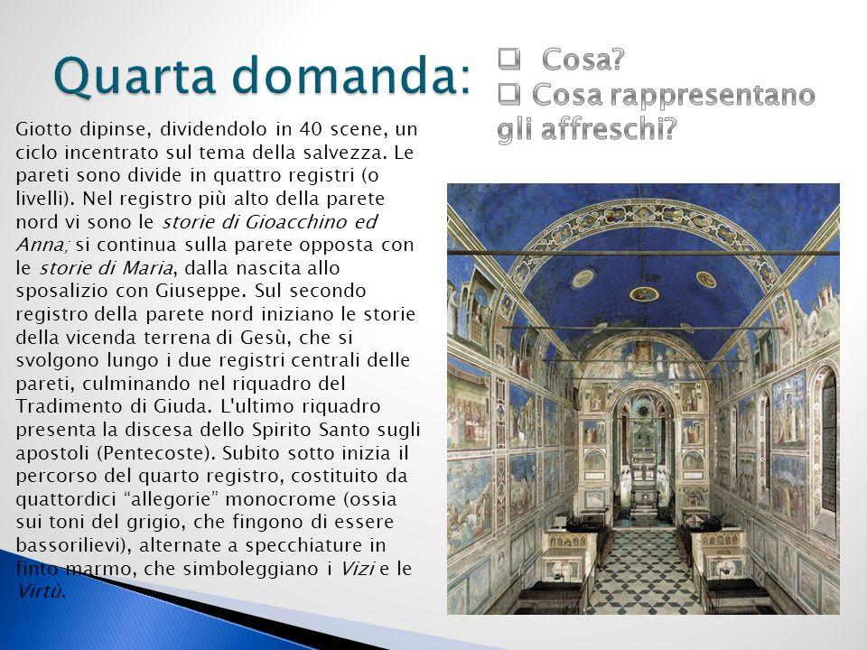 Giotto dipinse, dividendolo in 40 scene, un ciclo incentrato sul tema della salvezza. Le pareti sono divide in quattro registri (o livelli). Nel regis