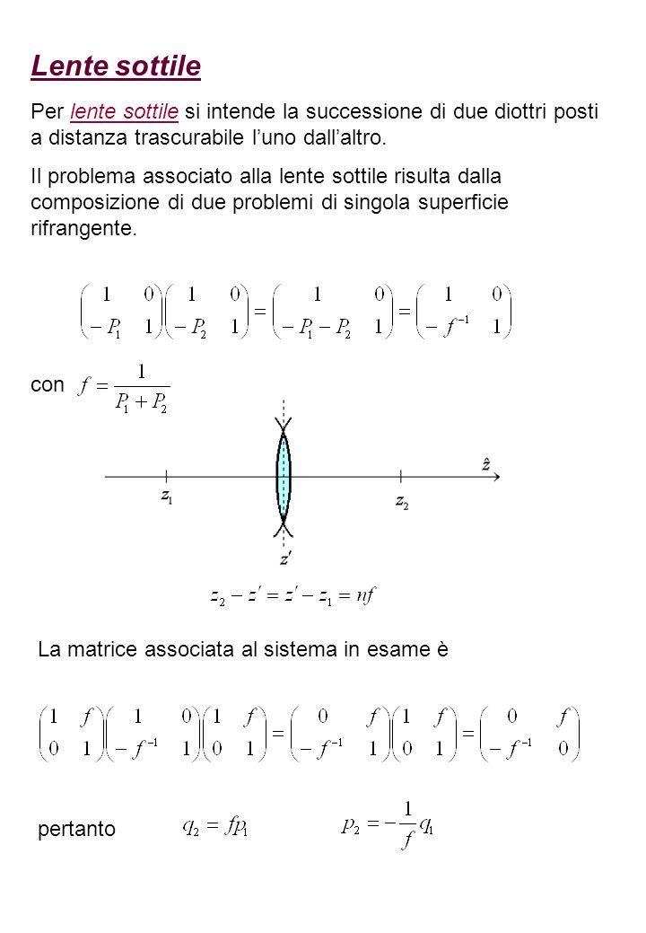 Fuochi della lente sottile Si considera ancora una lente sottile posta in un mezzo rifrangente uniforme la cui matrice associata è Si scelgono e in modo che viene detto fattore dingrandimento I piani sono coniugati e vale la seguente relazione