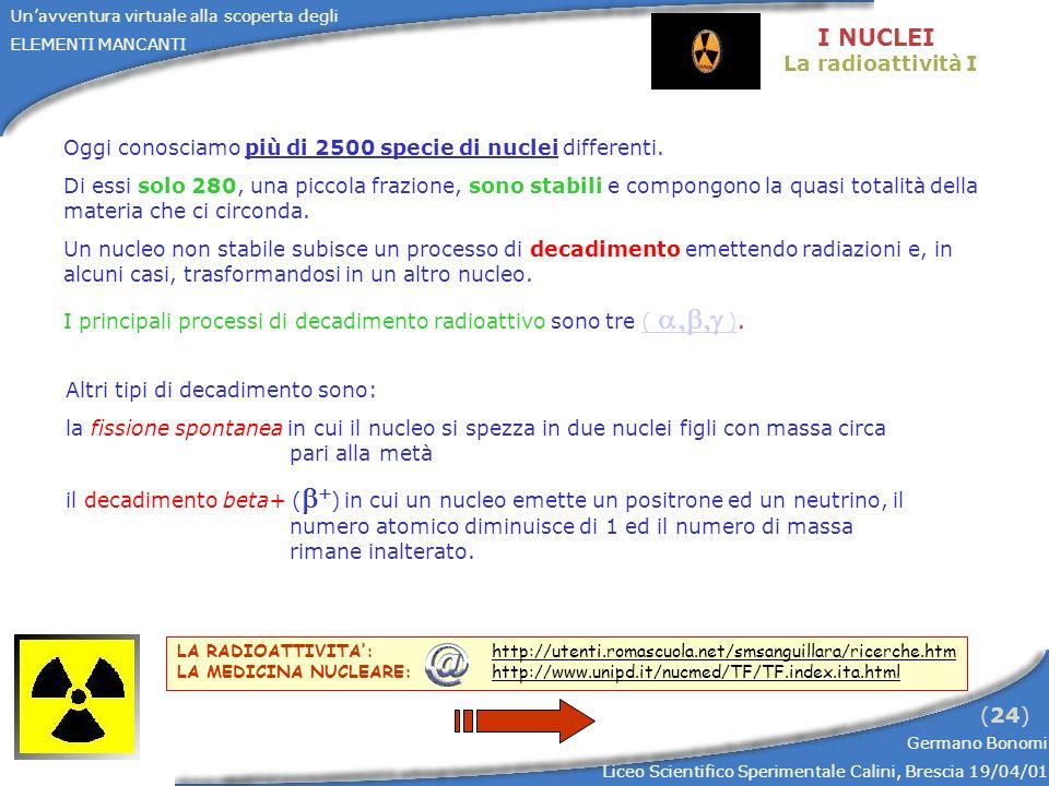 Unavventura virtuale alla scoperta degli ELEMENTI MANCANTI Germano Bonomi Liceo Scientifico Sperimentale Calini, Brescia 19/04/01 (25) I NUCLEI La radioattività II alfa ( ): il nucleo emette una particella alfa composta da due protoni e da due neutroni, riducendo così il suo numero atomico di 2 ed il numero di massa di 4; beta- ( - ): il nucleo emette una particella beta- (elettrone) ed un antineutrino, aumentando il numero atomico di 1 e lasciando inalterato il numero di massa; gamma( ): il nucleo passa ad una configurazione di energia inferiore emettendo un raggio gamma (fotone), lasciando invariati numero atomico e numero di massa.