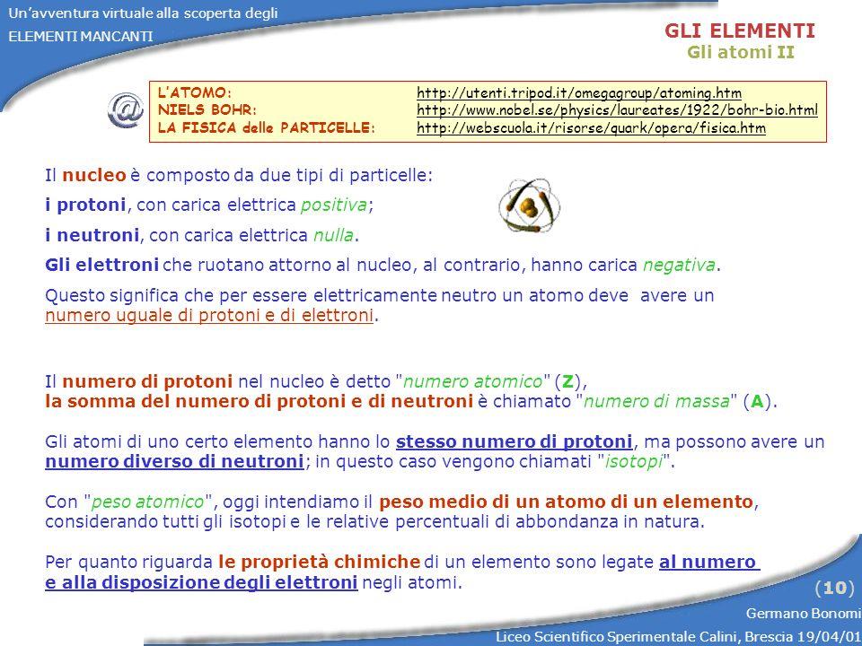 Unavventura virtuale alla scoperta degli ELEMENTI MANCANTI Germano Bonomi Liceo Scientifico Sperimentale Calini, Brescia 19/04/01 (10) Il nucleo è com