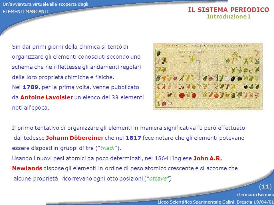 Unavventura virtuale alla scoperta degli ELEMENTI MANCANTI Germano Bonomi Liceo Scientifico Sperimentale Calini, Brescia 19/04/01 (11) IL SISTEMA PERI